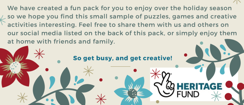"""introduction to the activity pack with the words """"get busy and get creative"""" and blue and red flowers."""