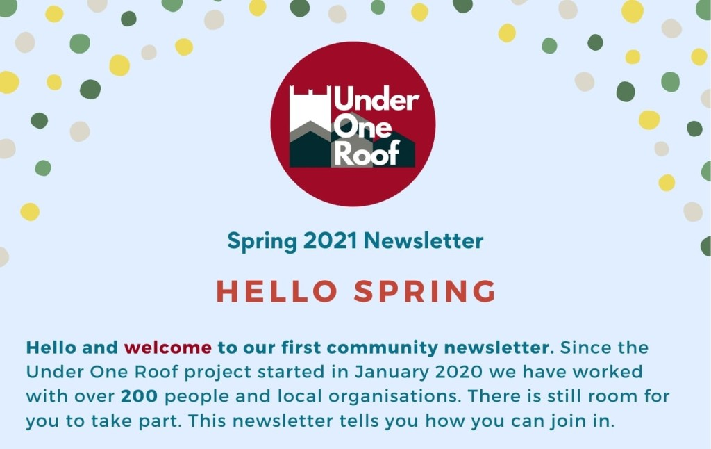 """image of front page of spring newsletter, pale blue with the words """"there is still room for you to take part"""""""