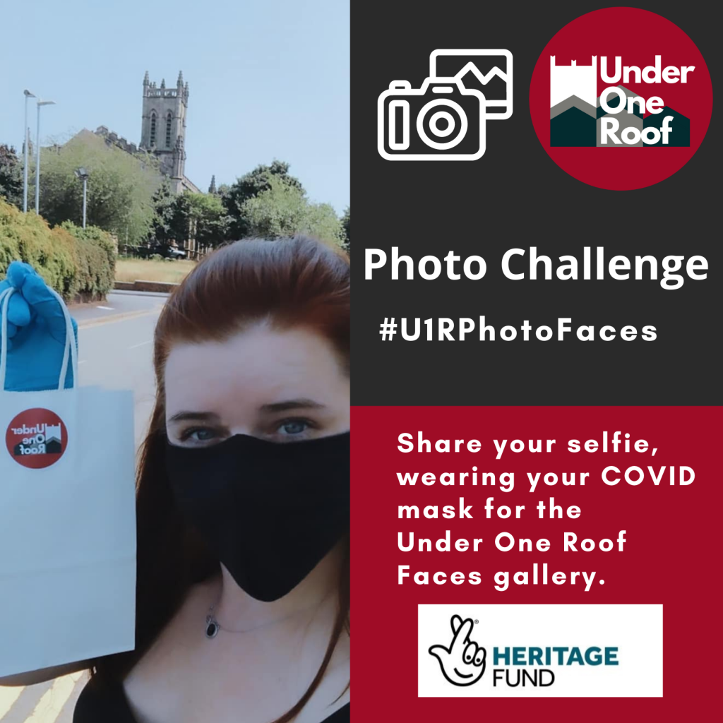 image of woman wearing facemask with St Mark's Church behind her